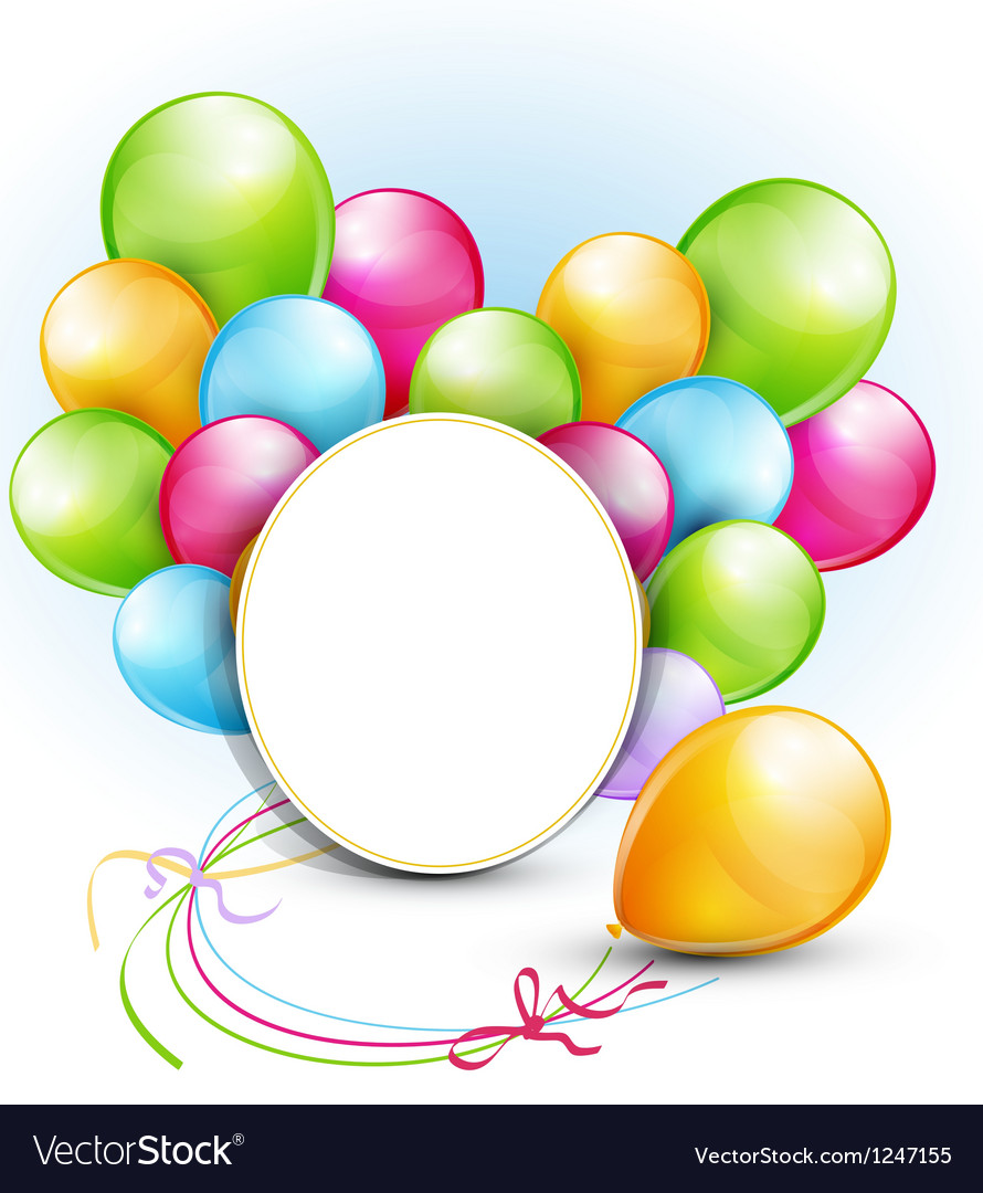 Congratulation background with balloons and a roun vector   Price: 1 Credit (USD $1)