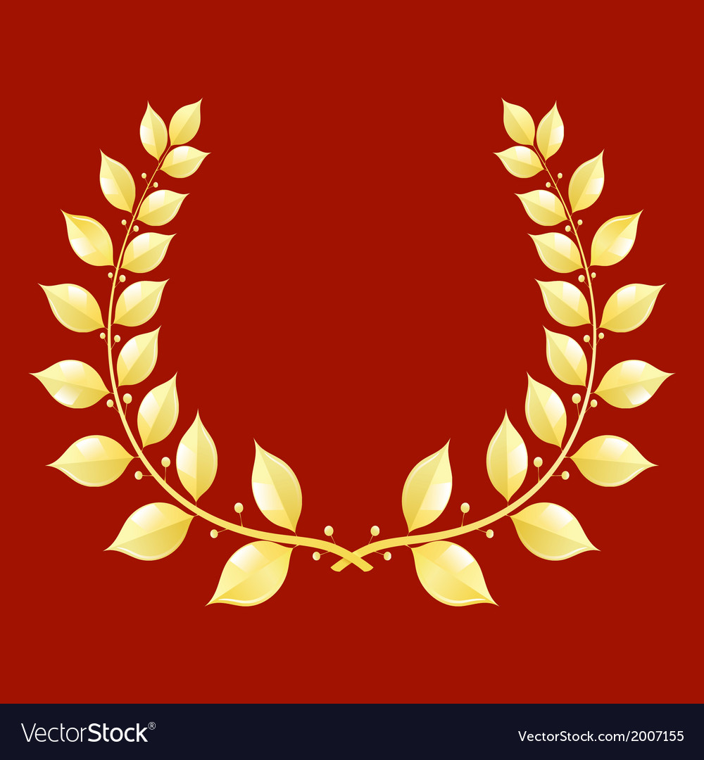 Gold laurel wreath on a red background vector | Price: 1 Credit (USD $1)
