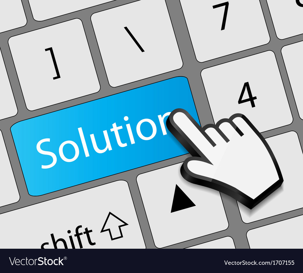 Keyboard solution button with mouse hand cursor vector | Price: 1 Credit (USD $1)
