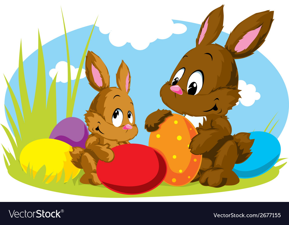 Rabbit with eggs vector | Price: 1 Credit (USD $1)