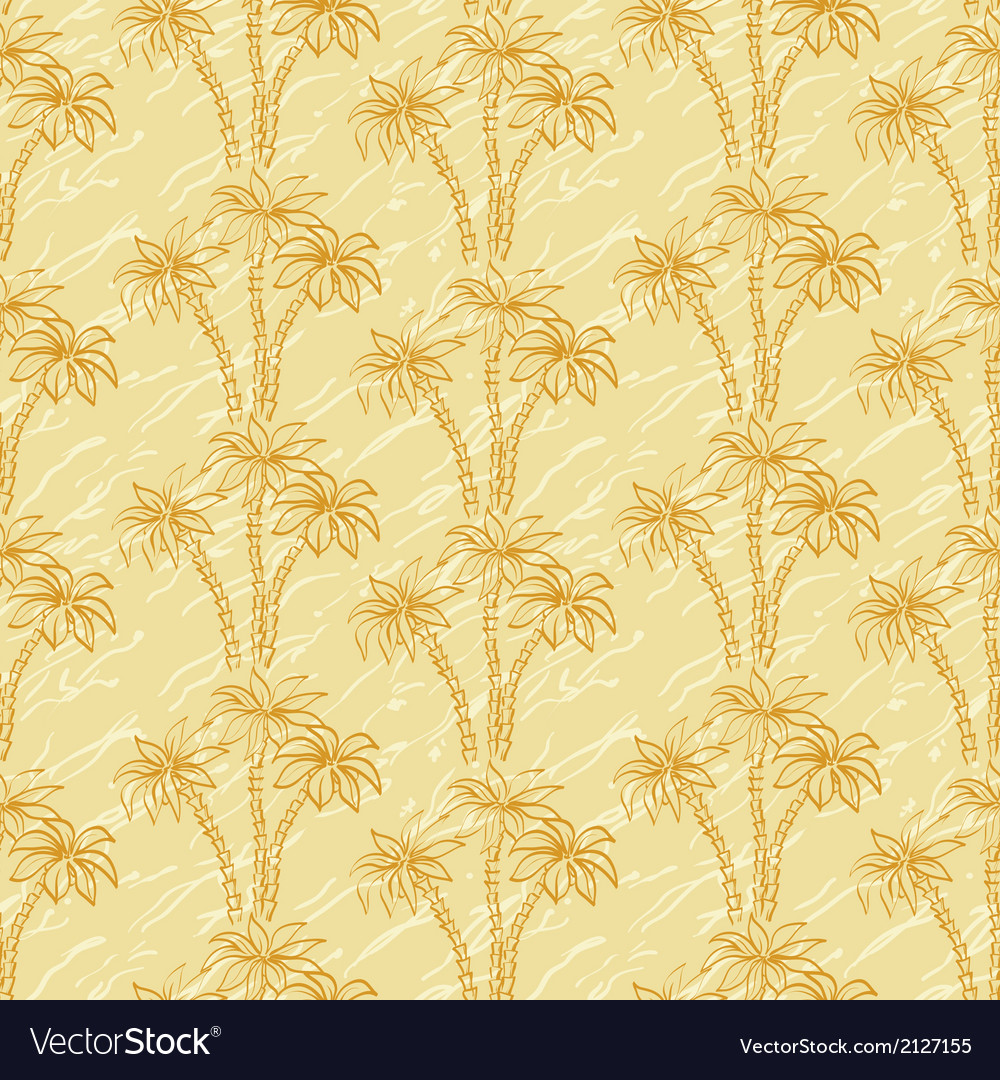 Seamless pattern palm trees contours vector | Price: 1 Credit (USD $1)