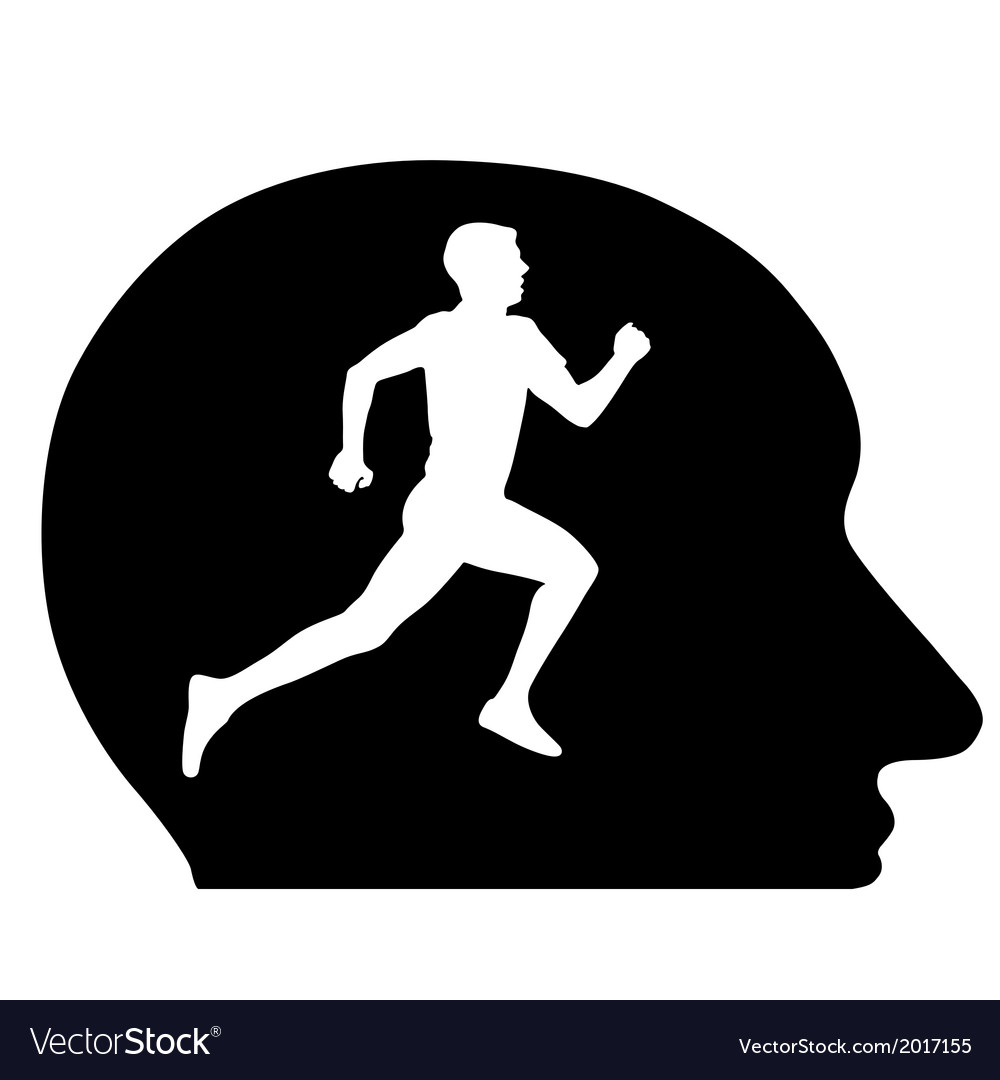 Silhouettes athlete running in my head the vector | Price: 1 Credit (USD $1)