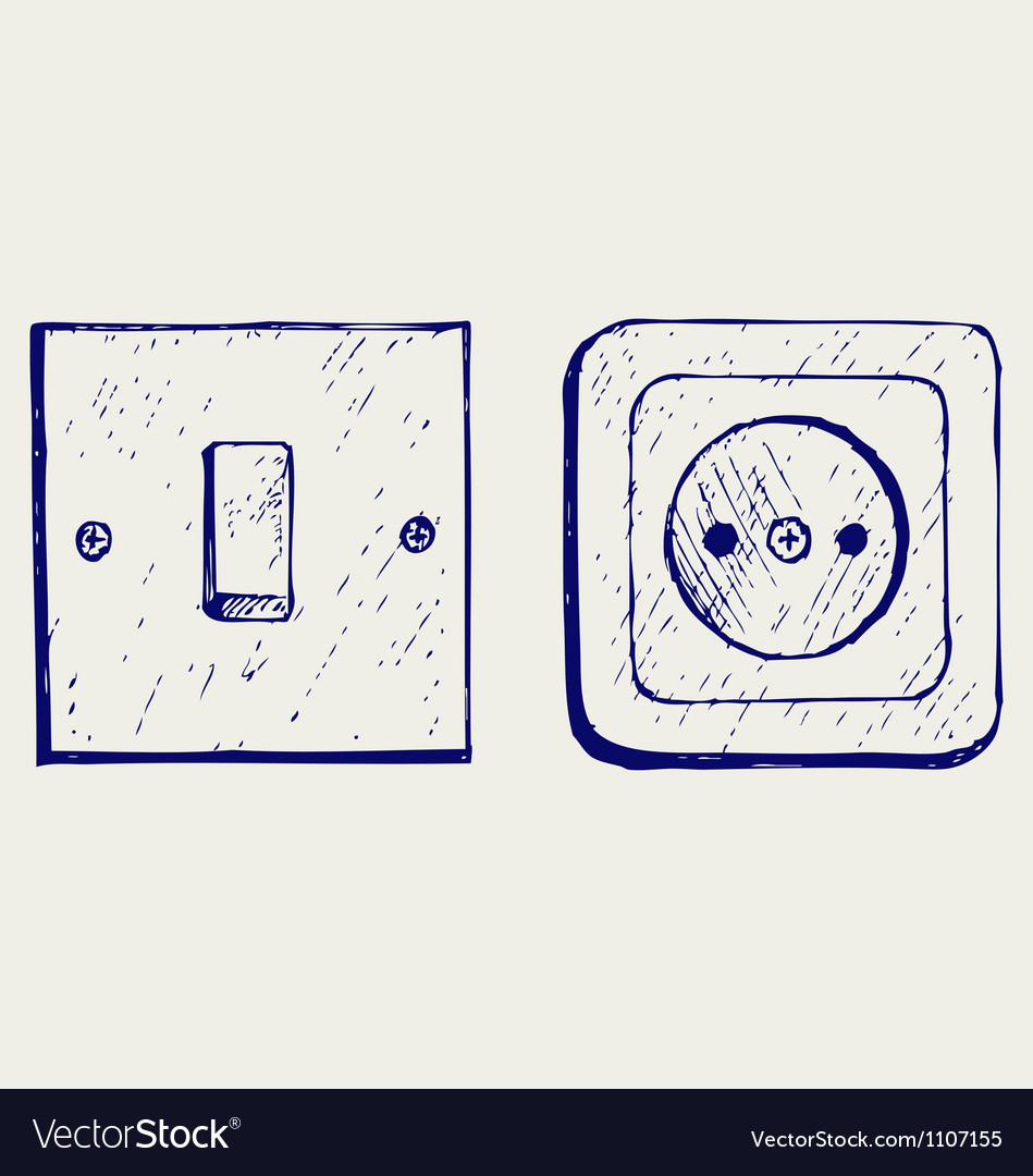 Single light switch and socket vector | Price: 1 Credit (USD $1)