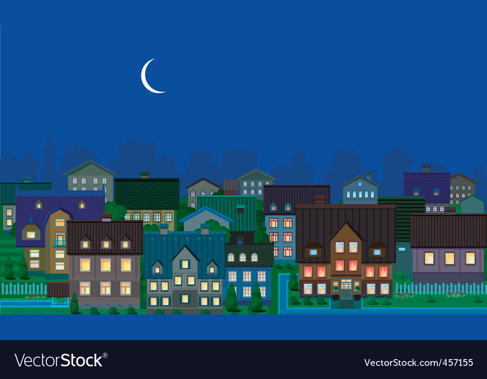 Townhouses night vector | Price: 1 Credit (USD $1)
