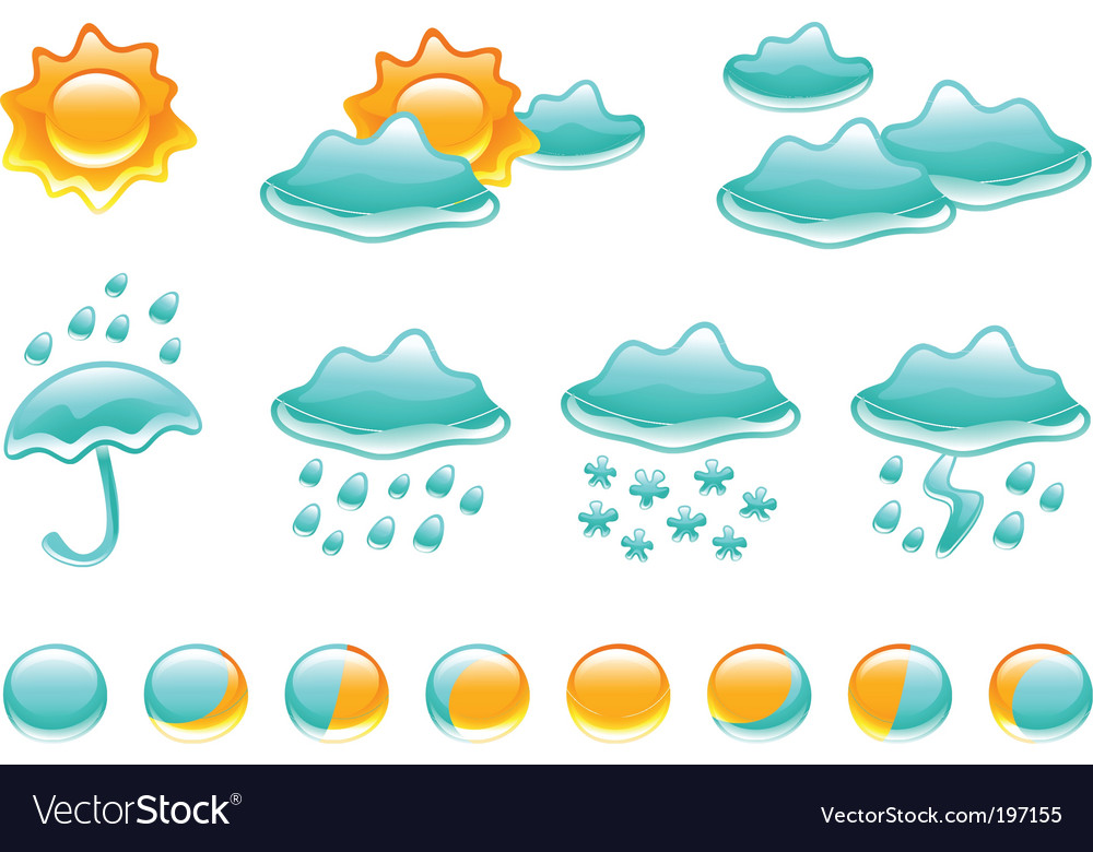 Weather symbols and moon phases vector