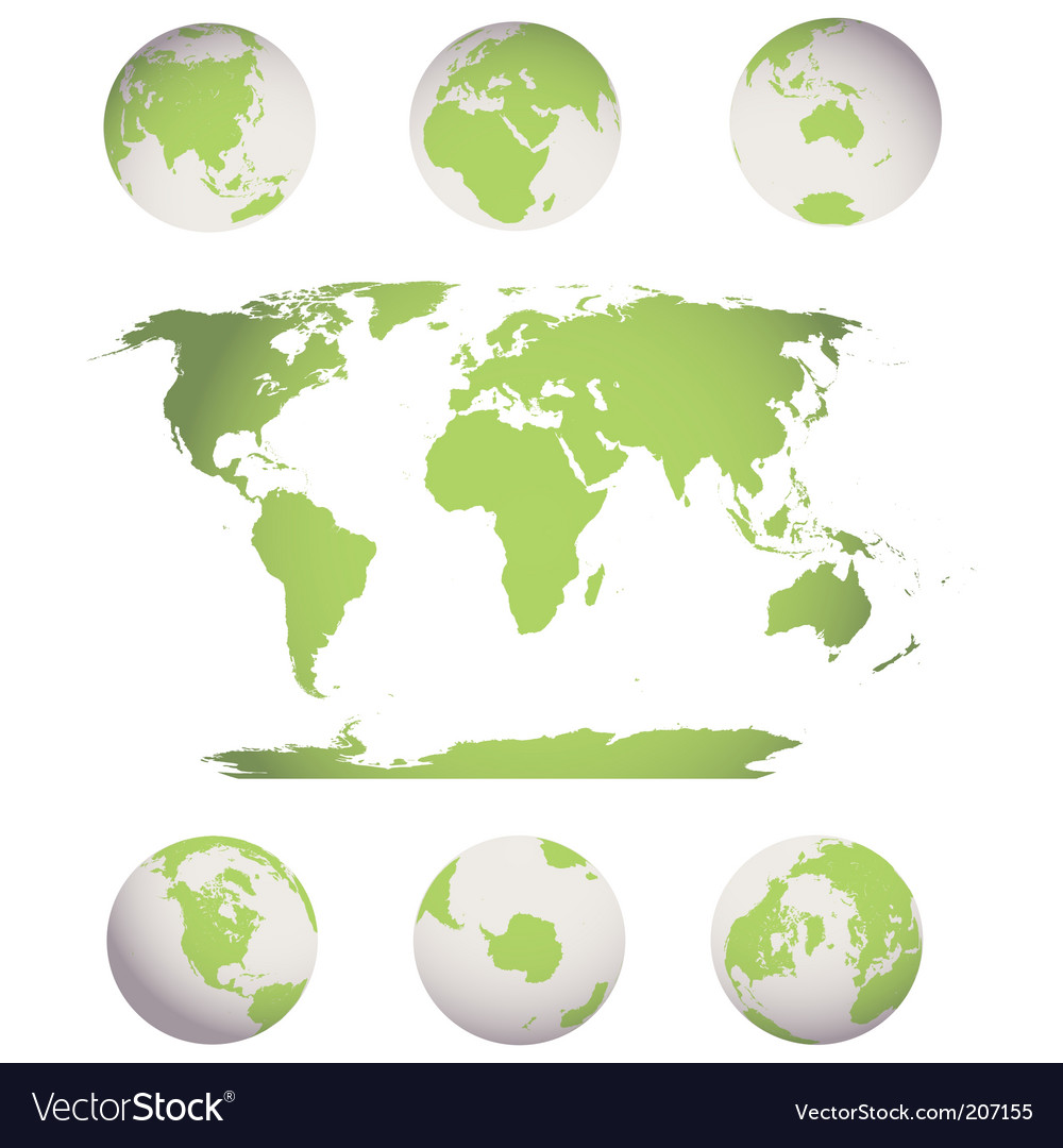 World map and globes vector | Price: 1 Credit (USD $1)
