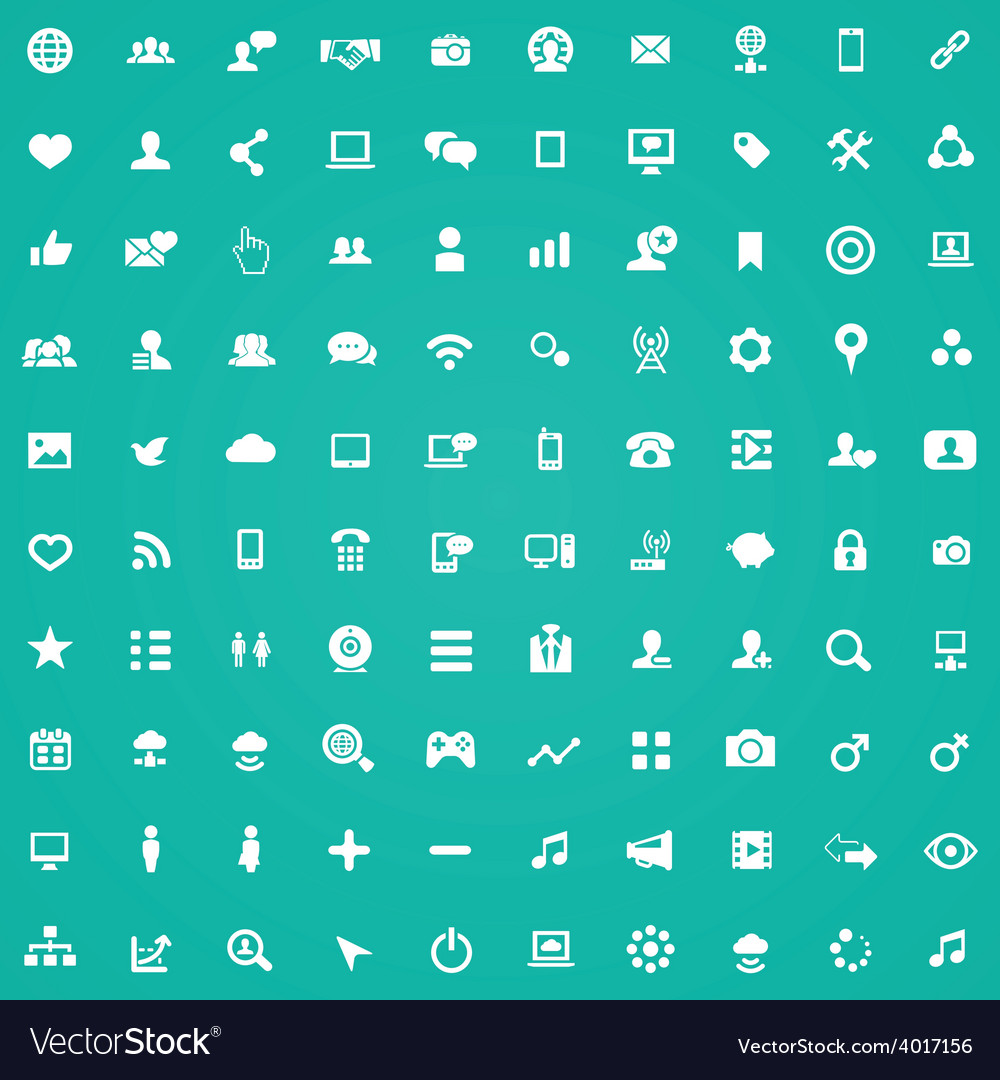 100 social media icons vector | Price: 1 Credit (USD $1)