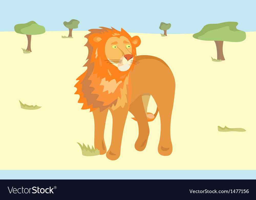 A lion in savannah vector | Price: 1 Credit (USD $1)