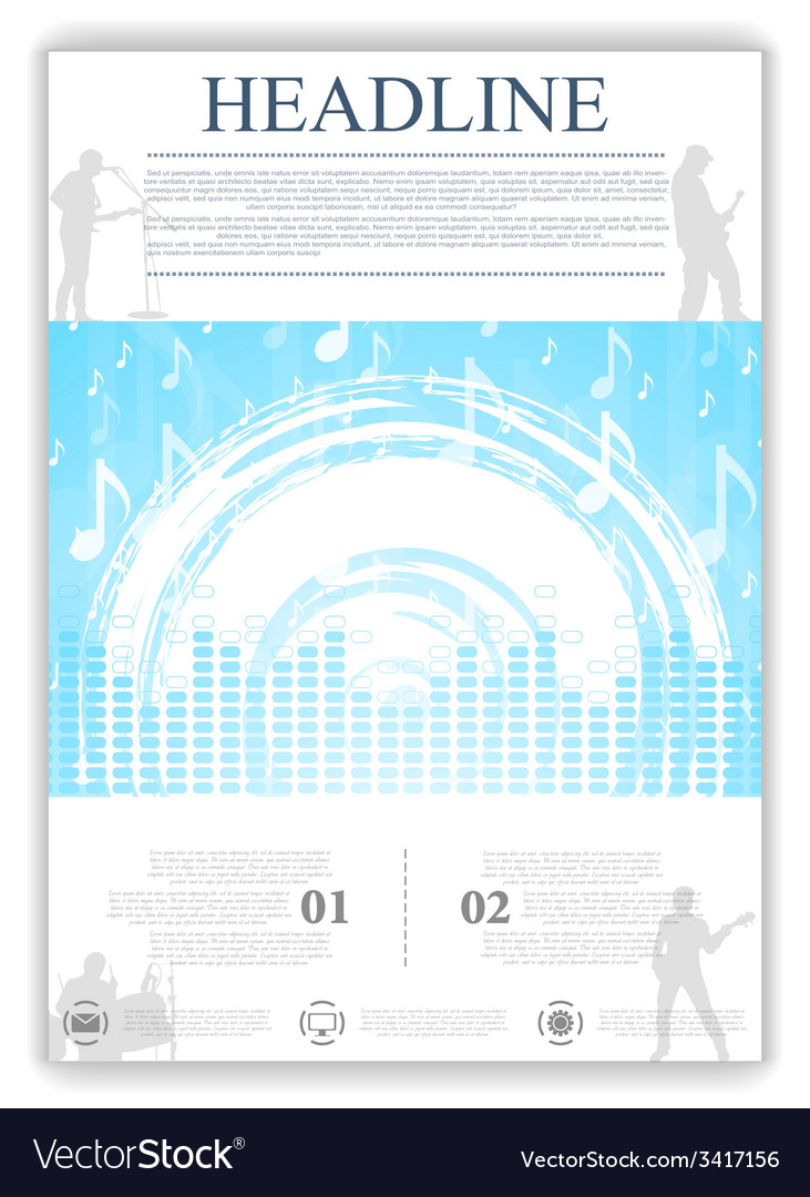 Abstract blue music flyer design vector | Price: 1 Credit (USD $1)