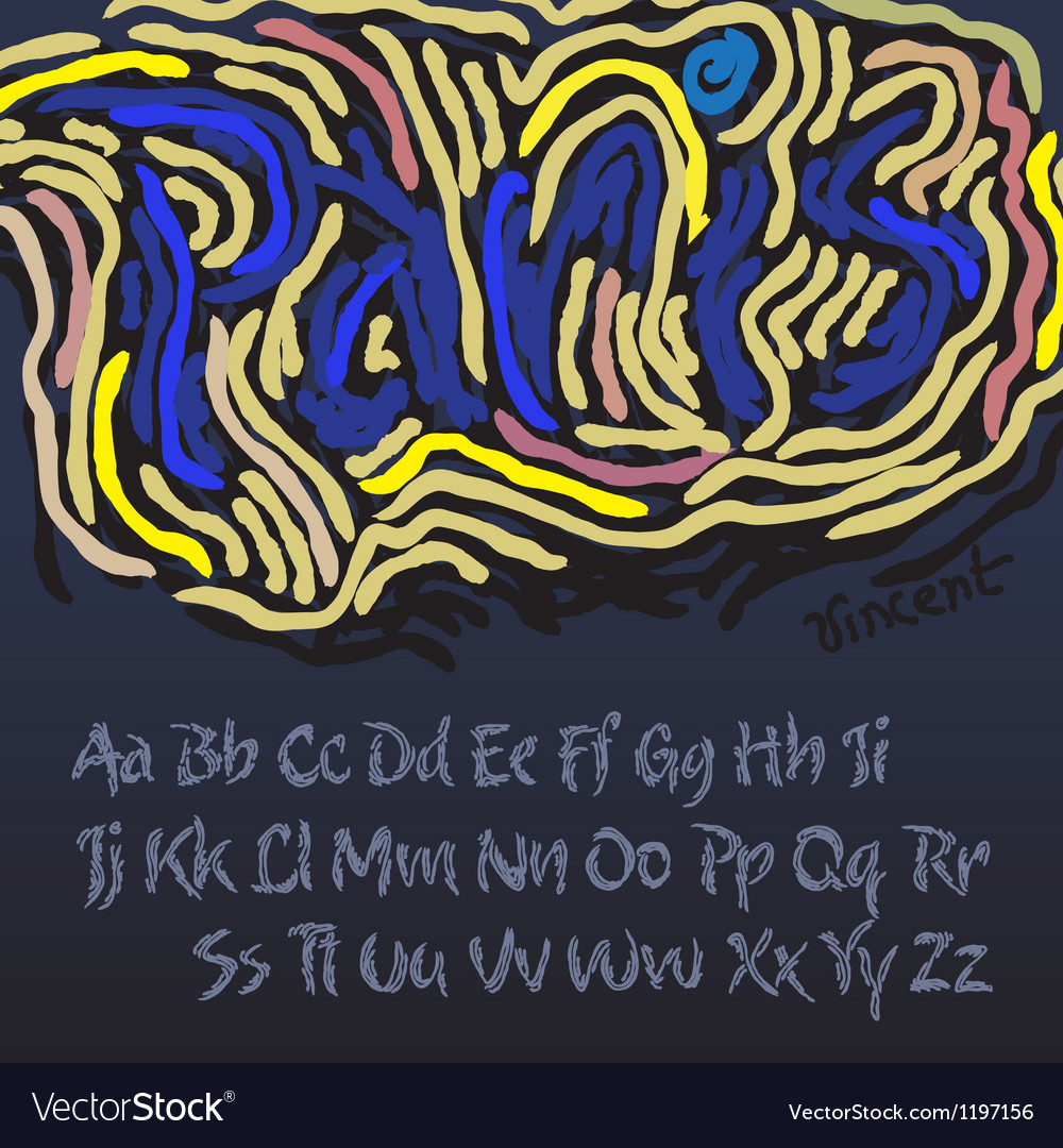 Alphabet in style of the artist vincent van gogh vector | Price: 1 Credit (USD $1)