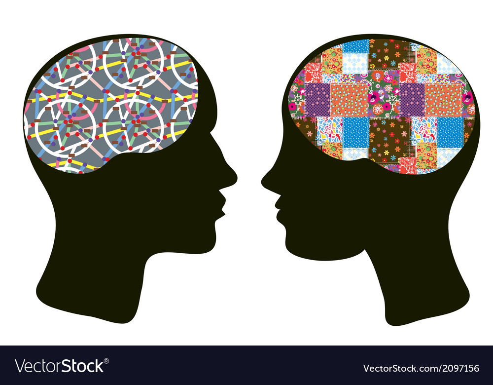 Brains and thinking concept of man and woman vector | Price: 1 Credit (USD $1)