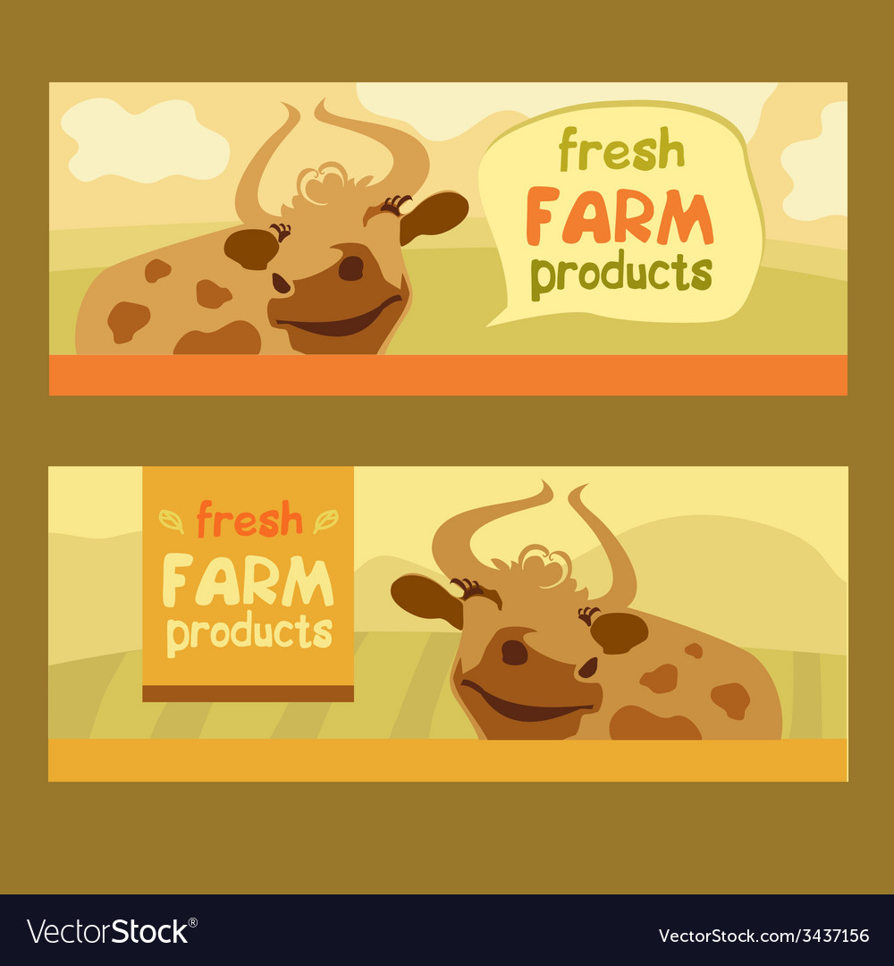 Fresh farm products happy cow on meadow vector | Price: 1 Credit (USD $1)
