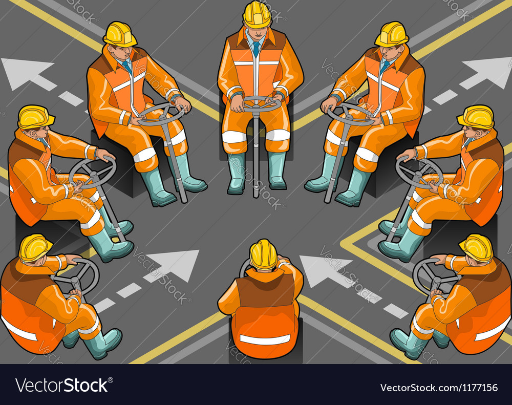 Isometric shunter at work in eight positions vector | Price: 5 Credit (USD $5)
