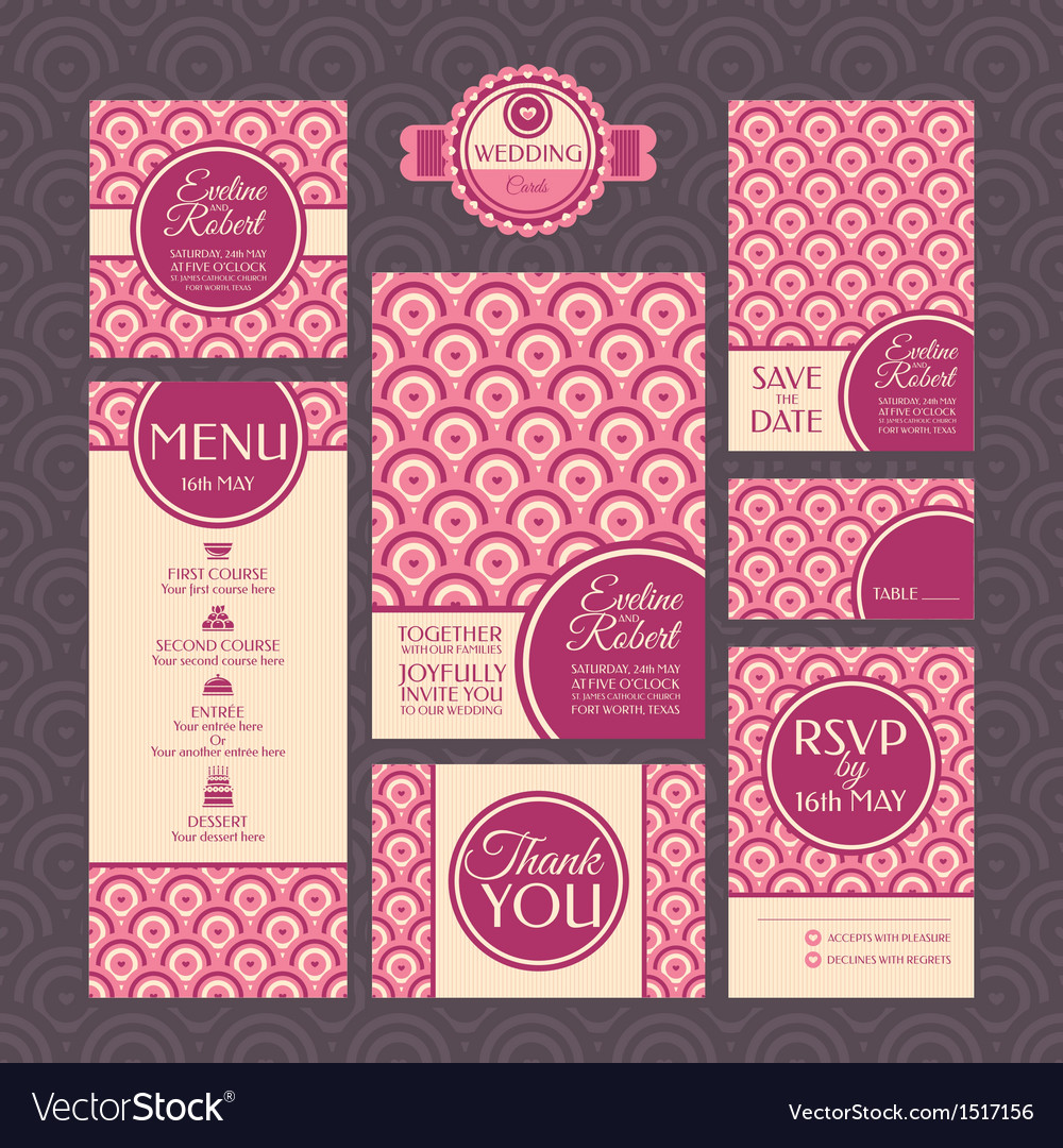 Set of modern wedding cards vector | Price: 1 Credit (USD $1)