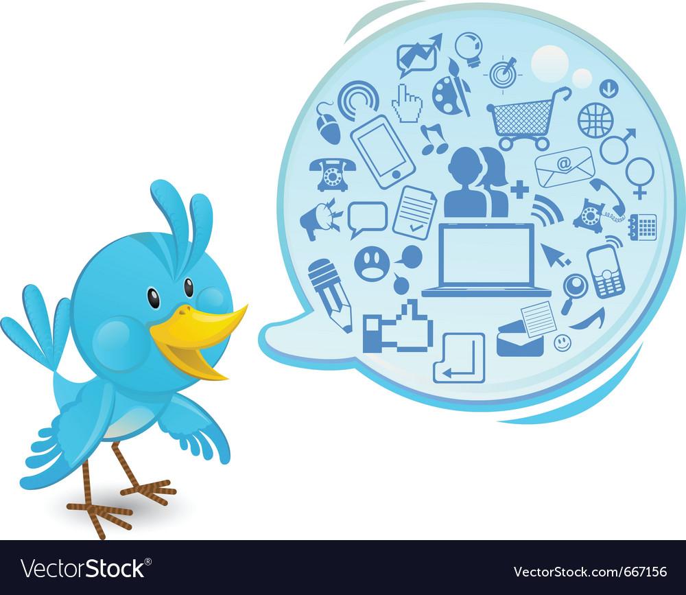 Social networking media bluebird vector | Price: 3 Credit (USD $3)