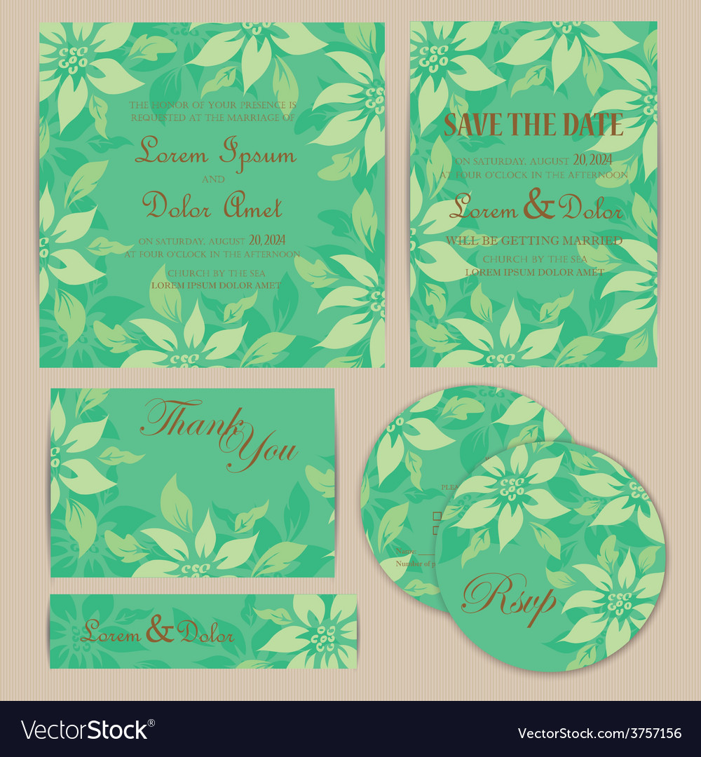 Wedding set with flowers vector | Price: 1 Credit (USD $1)