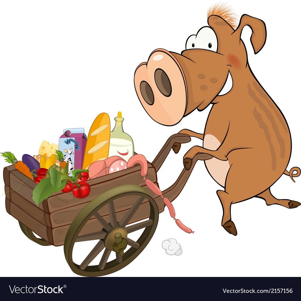 Wild boar and the cart with products vector | Price: 1 Credit (USD $1)