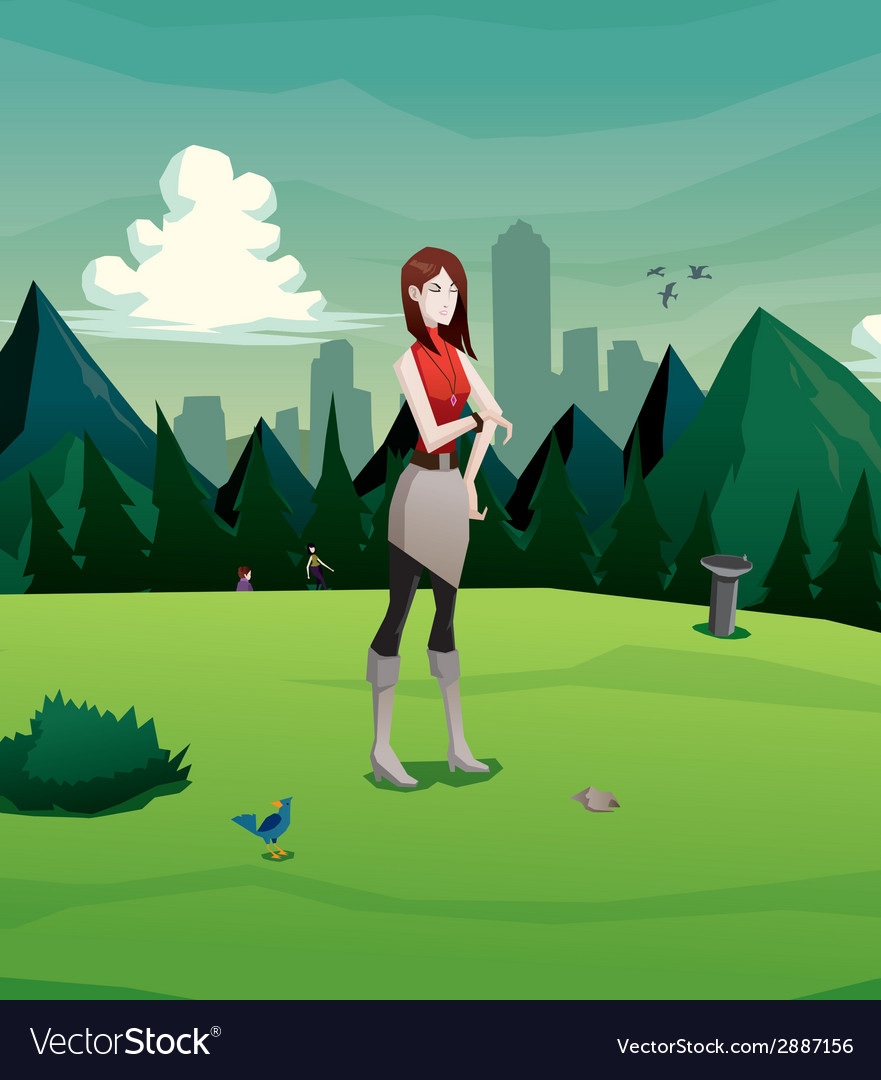 Woman waiting in the park vector | Price: 3 Credit (USD $3)