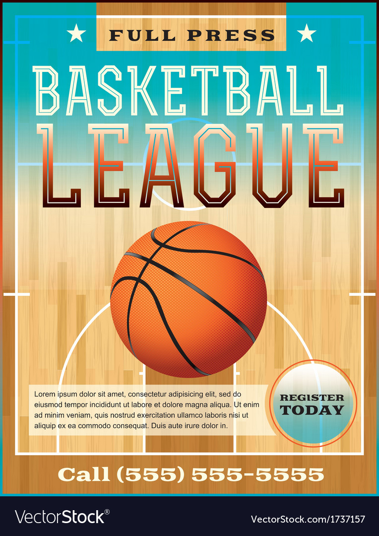 Basketball league flyer or poster vector | Price: 1 Credit (USD $1)