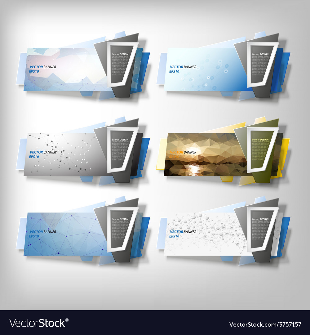 Big infographic banners set origami styled vector | Price: 1 Credit (USD $1)