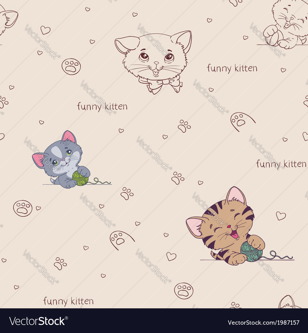 Cartoon seamless pattern with cute cats vector | Price: 1 Credit (USD $1)