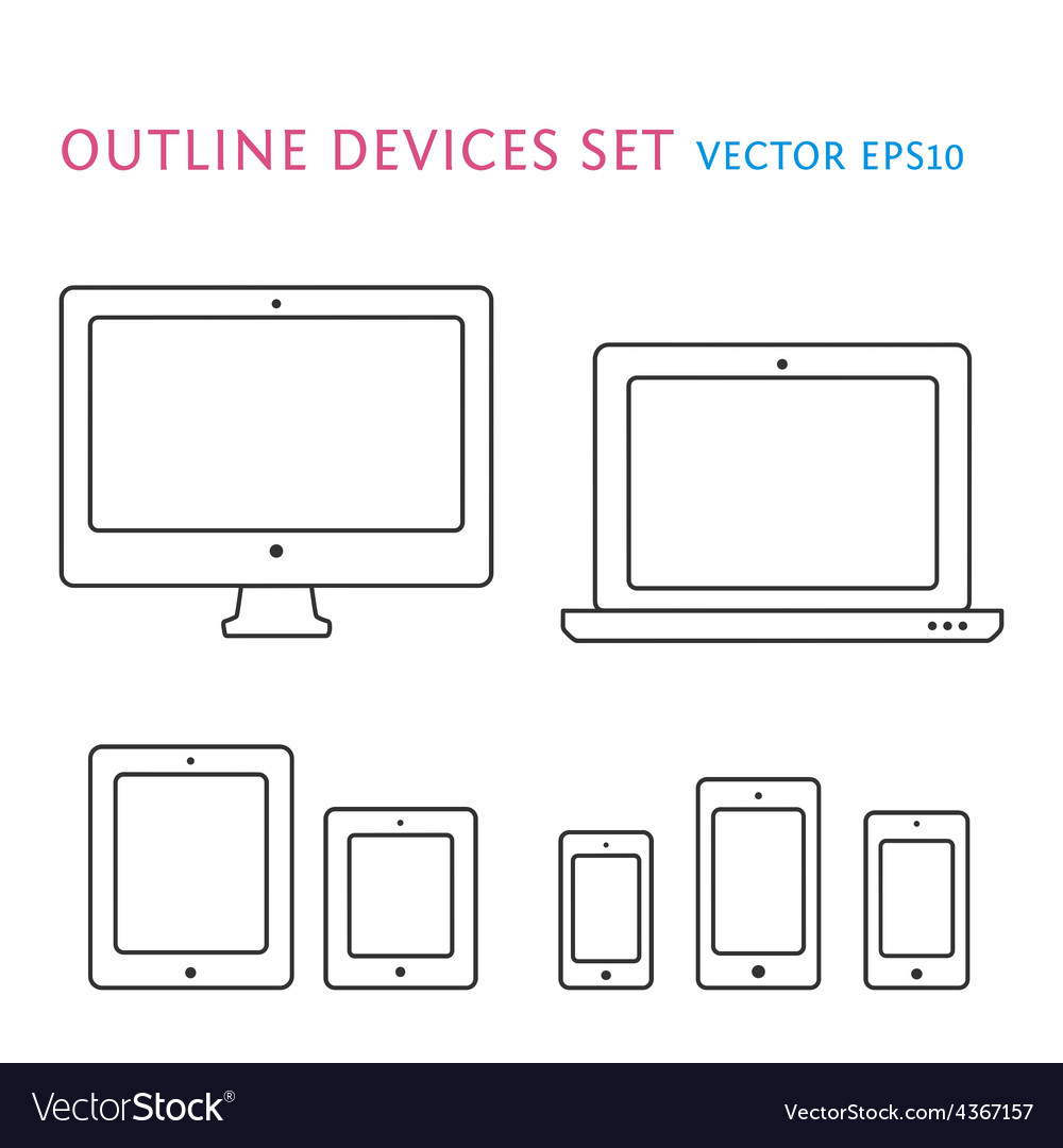 Device icons set vector | Price: 1 Credit (USD $1)