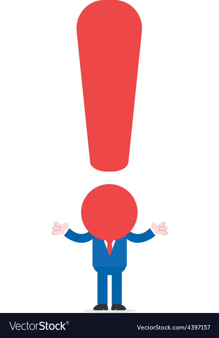Exclamation mark headed businessman gesturing vector | Price: 1 Credit (USD $1)