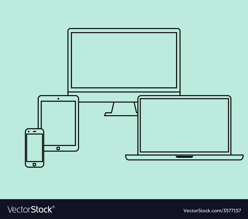 Flat design thin line icons set electronic objects vector | Price: 1 Credit (USD $1)