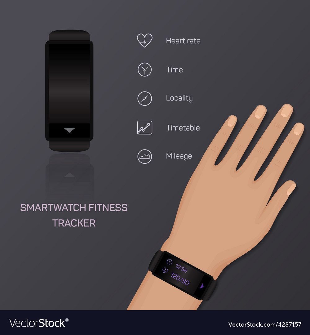 Health care bracelet hand heart rate time vector   Price: 1 Credit (USD $1)