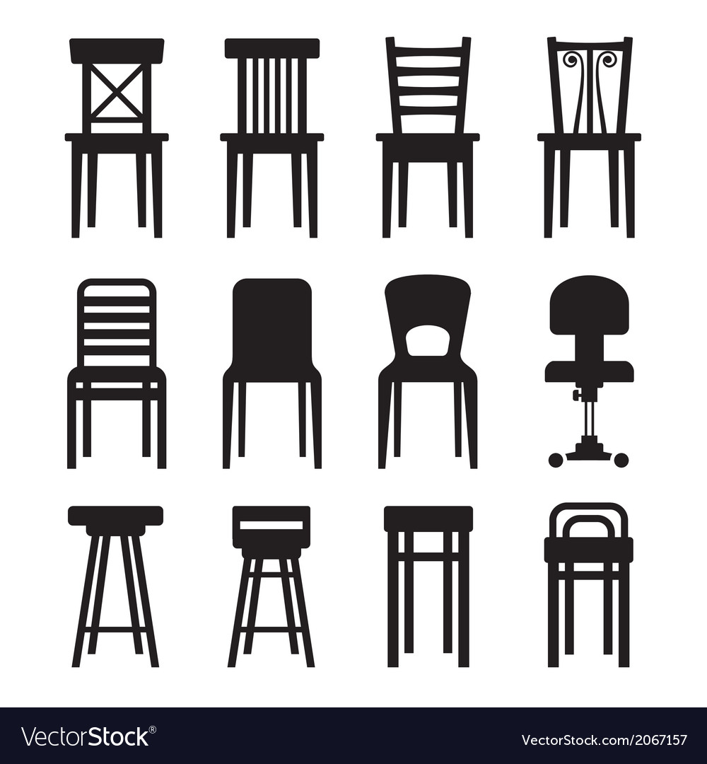 Old modern office and bar chairs set vector | Price: 1 Credit (USD $1)