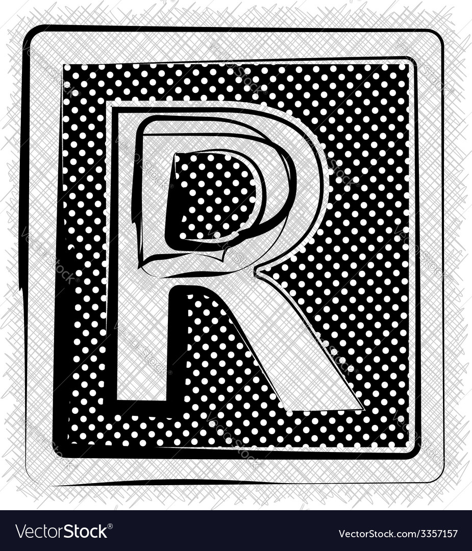 Polka dot font letter r vector | Price: 1 Credit (USD $1)