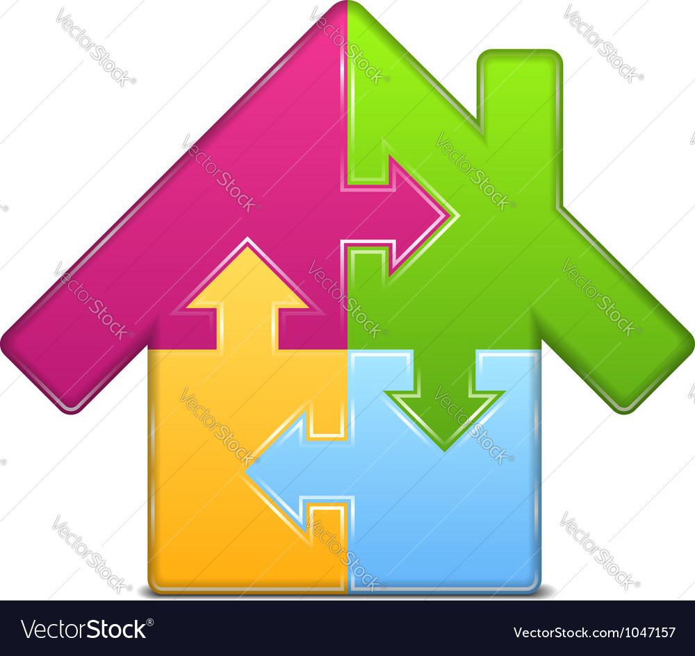 Puzzle house icon vector | Price: 1 Credit (USD $1)