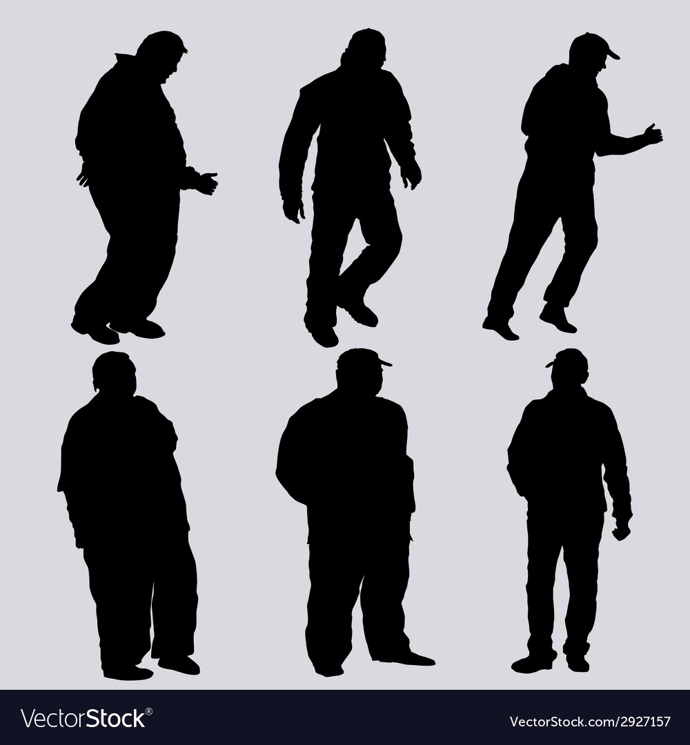 Silhouettes of obese men vector | Price: 1 Credit (USD $1)