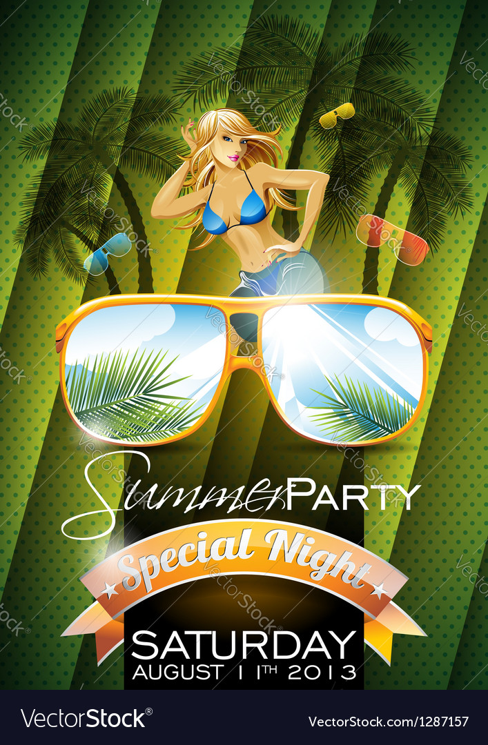 Summer beach party flyer design with sexy girl vector | Price: 3 Credit (USD $3)