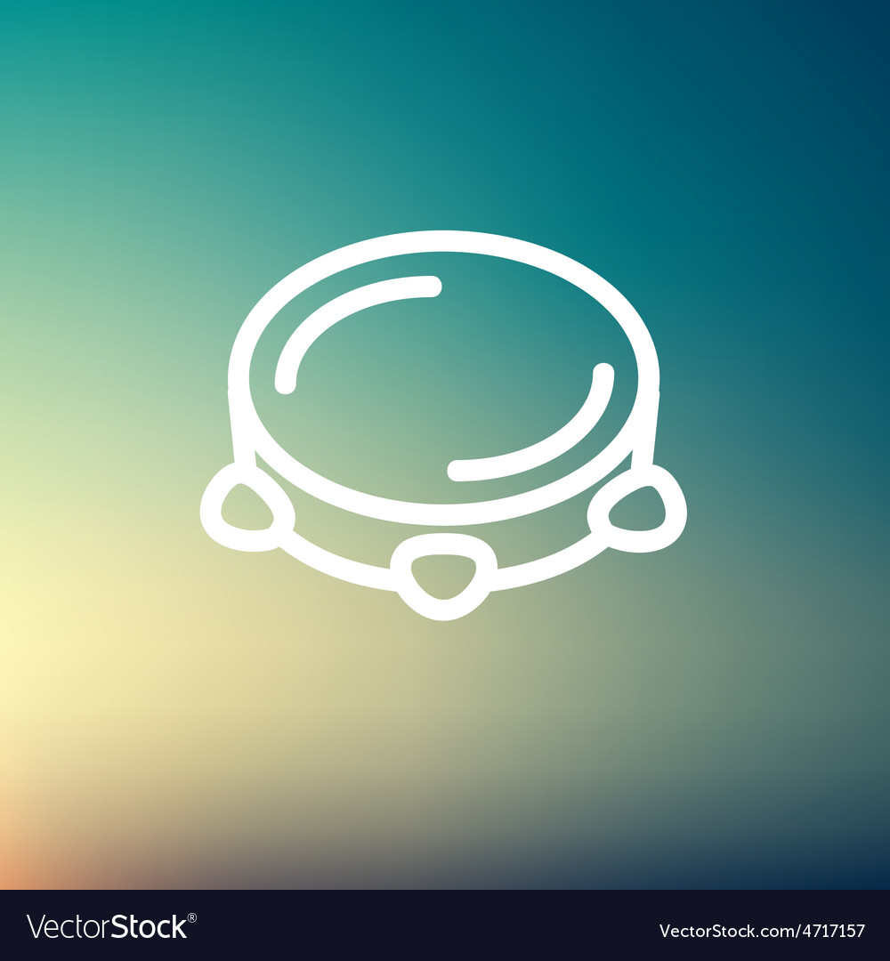 Tambourine thin line icon vector | Price: 1 Credit (USD $1)