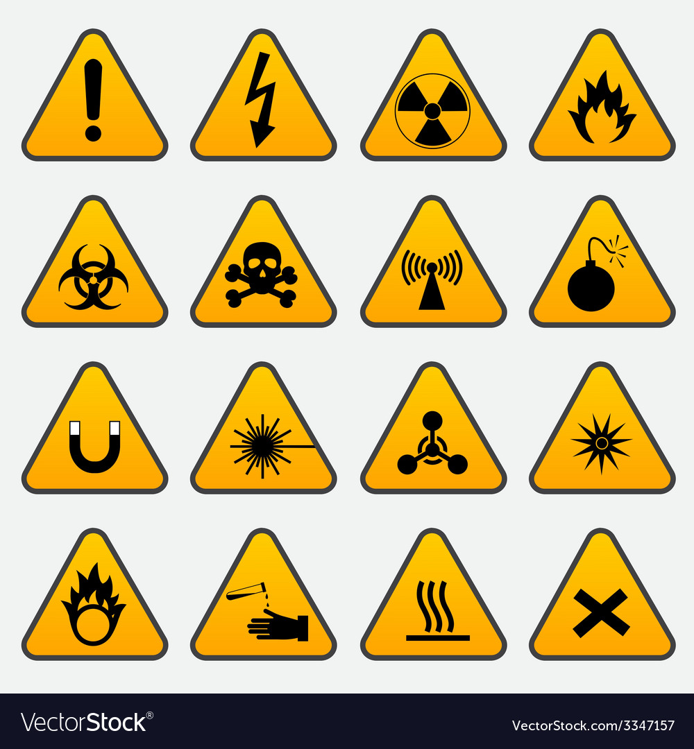 Warning hazard triangle signs vector | Price: 1 Credit (USD $1)