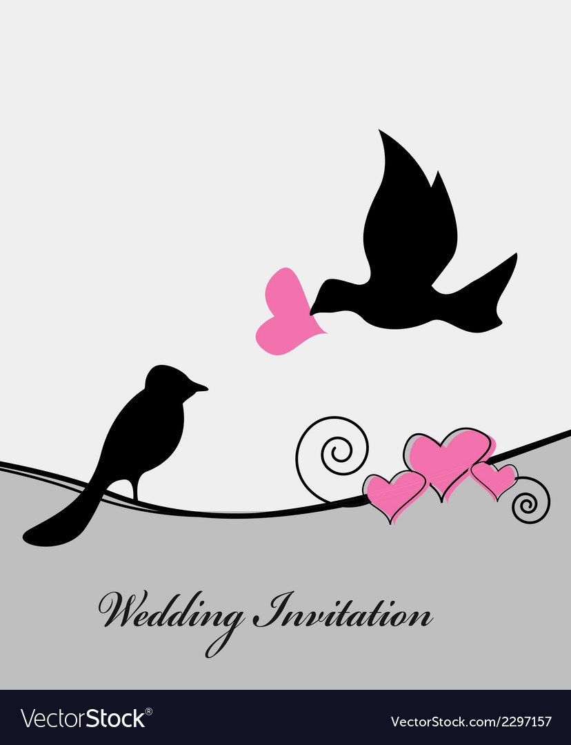 Wedding card with bird vector | Price: 1 Credit (USD $1)