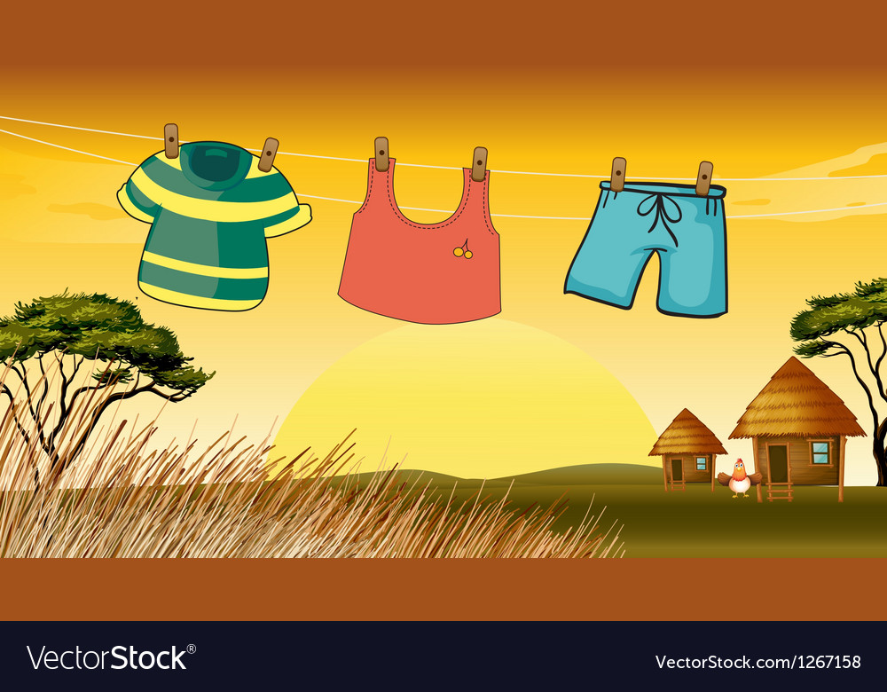 Clothes hanging in the wire vector | Price: 1 Credit (USD $1)