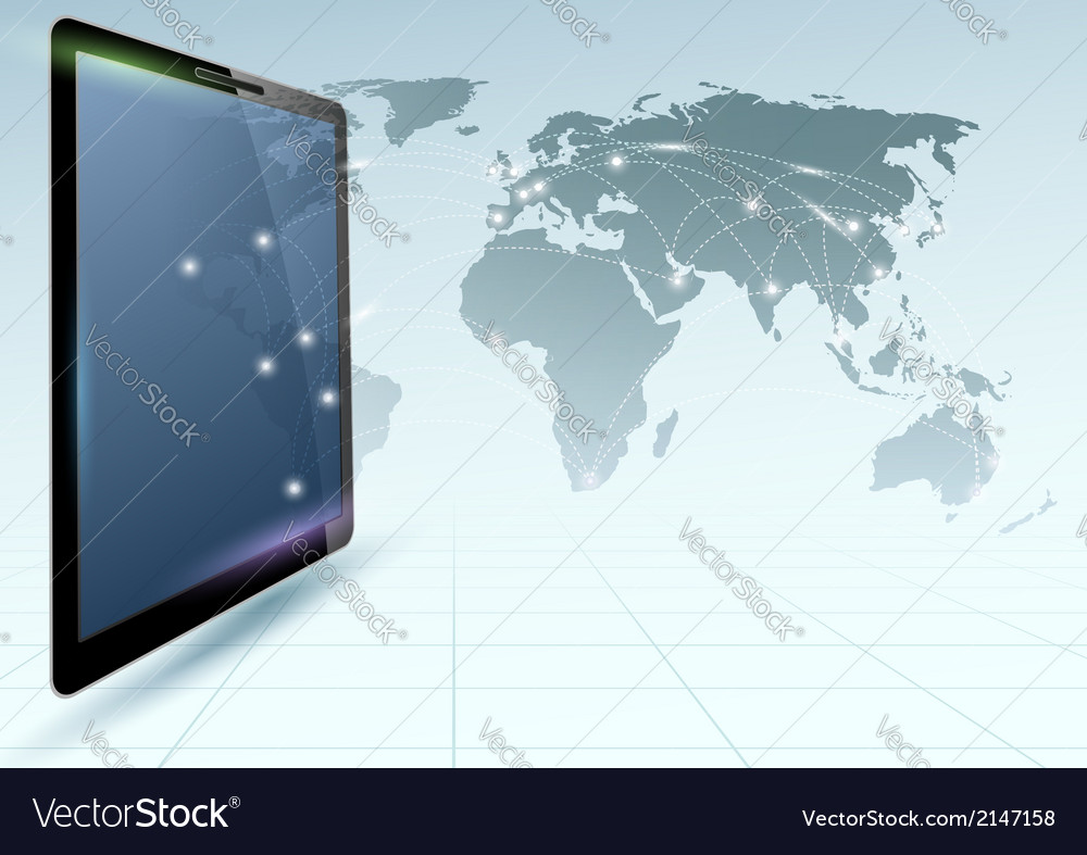 Global connections controlled via tablet device vector | Price: 1 Credit (USD $1)