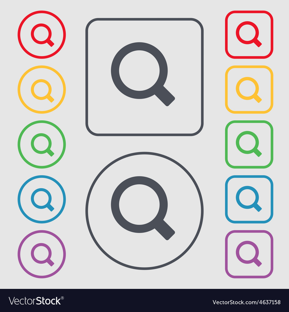 Magnifier glass icon sign symbol on the round and vector | Price: 1 Credit (USD $1)