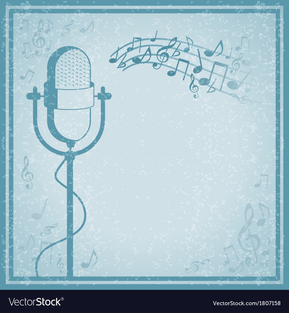 Microphone with music on vintage background vector | Price: 1 Credit (USD $1)