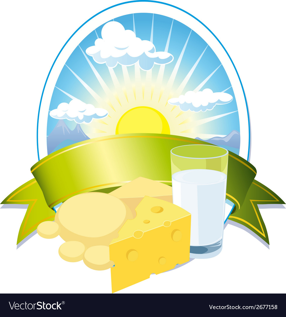 Milk and cheese label vector | Price: 1 Credit (USD $1)