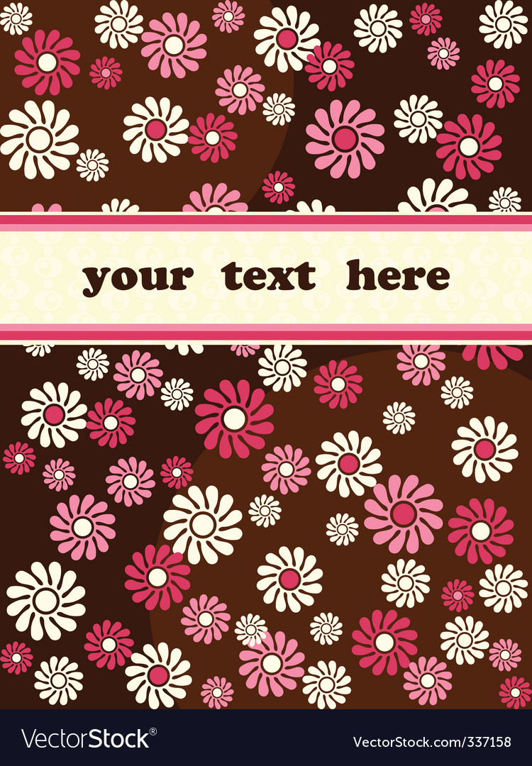 Retro banner with pink flowers vector | Price: 1 Credit (USD $1)