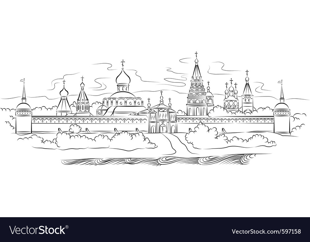 Russian monastery vector | Price: 1 Credit (USD $1)