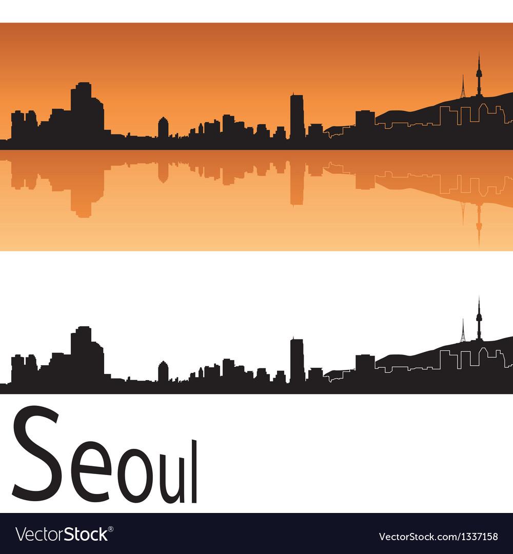 Seoul skyline in orange background vector | Price: 1 Credit (USD $1)