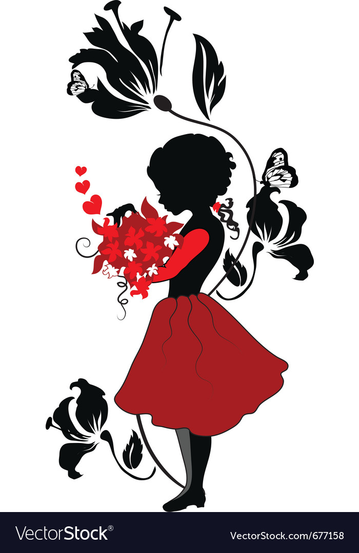Silhouette little girl with lovely bouquet vector | Price: 1 Credit (USD $1)
