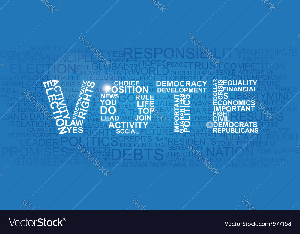 Vote made of different important statement words vector | Price:  Credit (USD $)