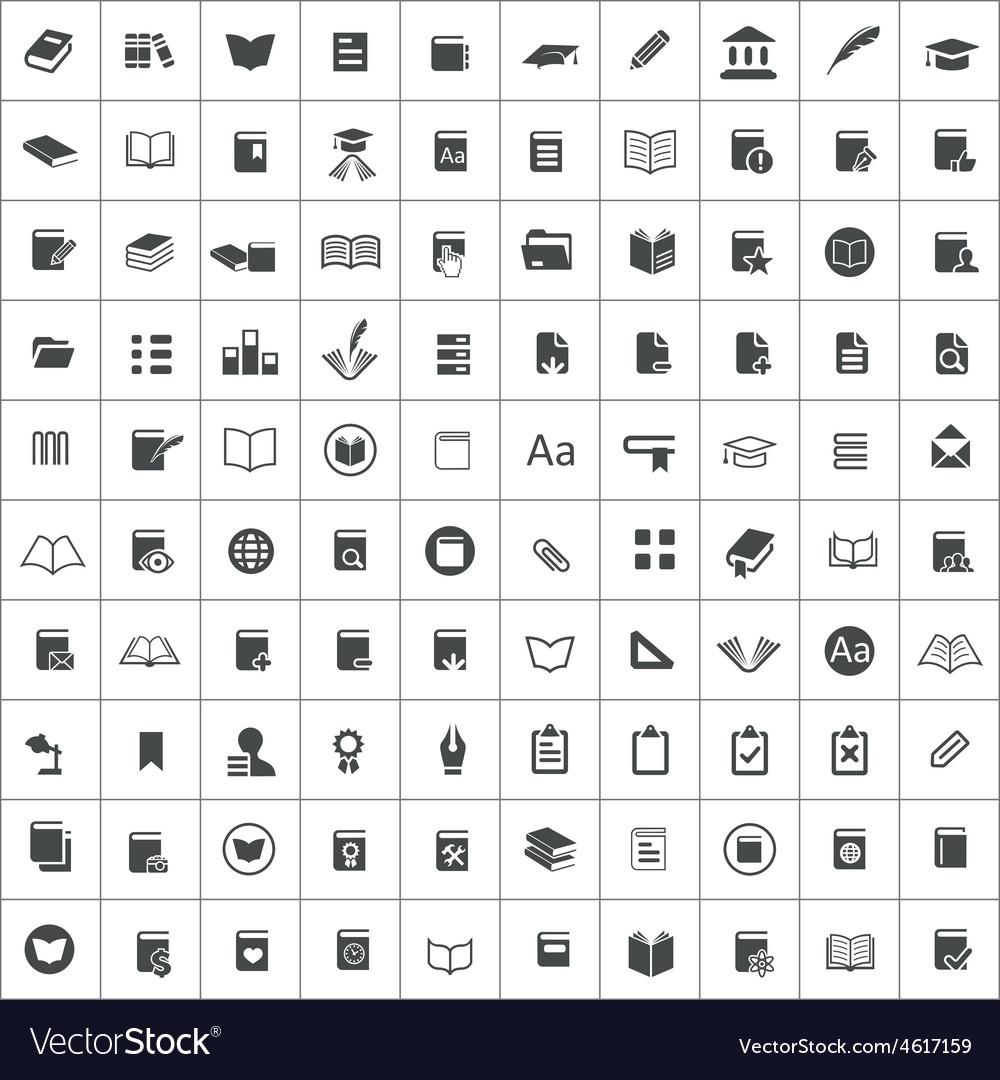 100 books icons vector | Price: 1 Credit (USD $1)
