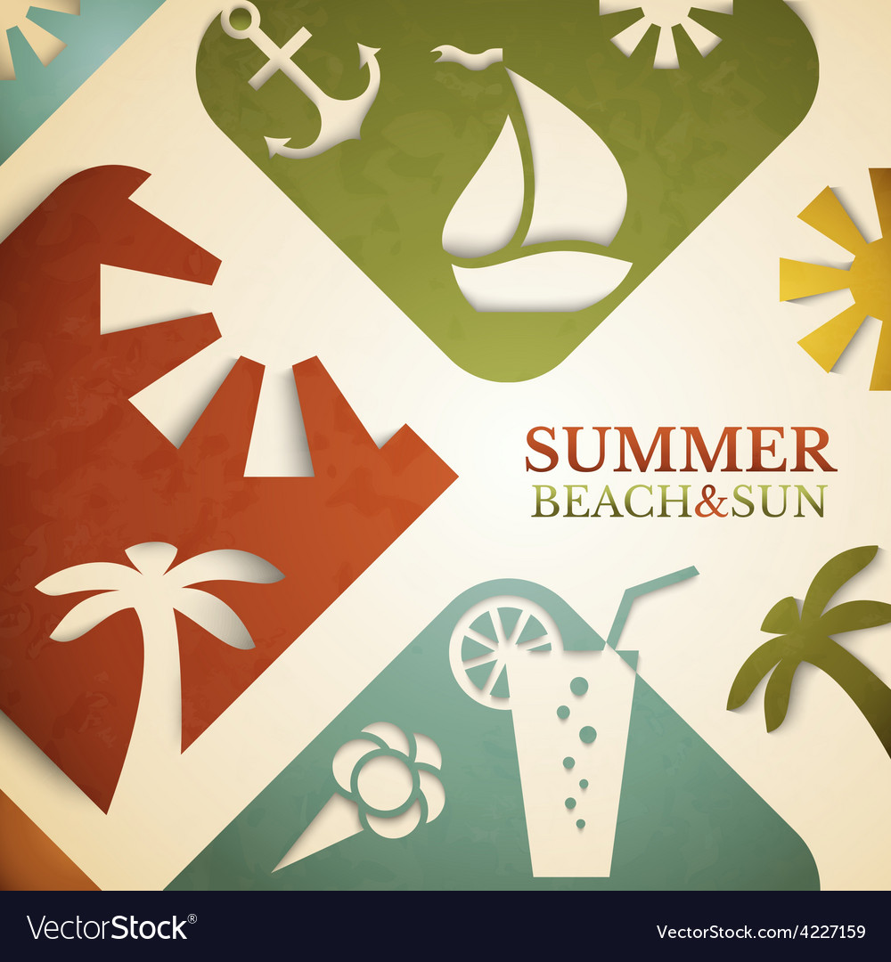 Abstract summer  retro beach vector | Price: 1 Credit (USD $1)