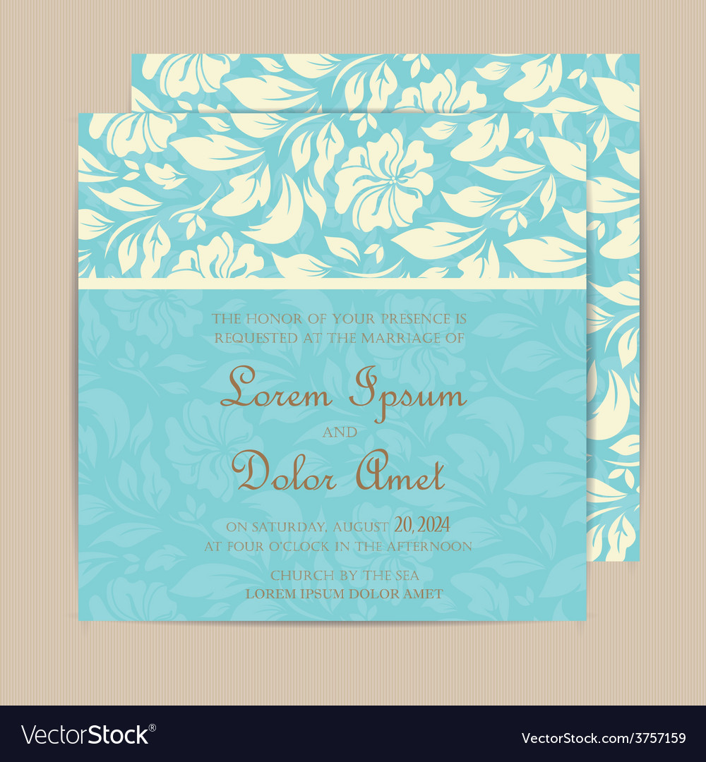 Blue invitation card vector | Price: 1 Credit (USD $1)